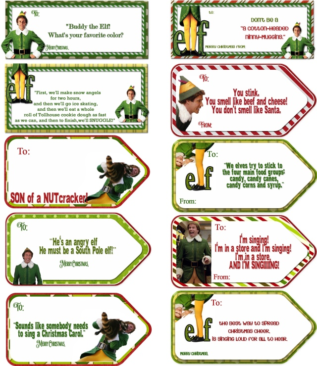 Elf quotes gift tags